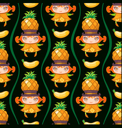 seamless pattern with pineapple fruit girl vector image vector image