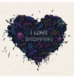 Shopping neon heart vector image