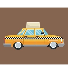 taxi car side view with publicity brown background vector image vector image