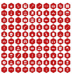100 offence icons hexagon red vector image vector image