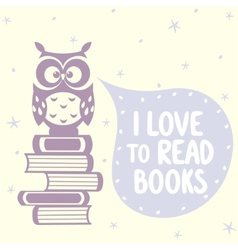 cute owls and books vector image vector image