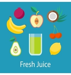 Fresh Juice with Fruits vector image