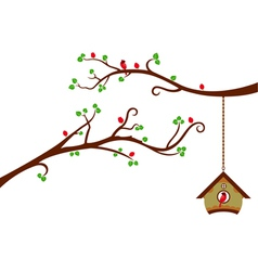 Two Branches with modern birdhouse vector image vector image