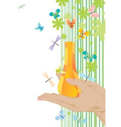 yellow fragrance and butterflies vector image