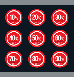 10 20 30 40 50 60 70 80 90 percent off - red sale vector image