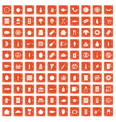 100 lunch icons set grunge orange vector
