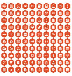 100 work paper icons hexagon orange vector
