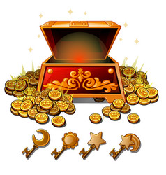 a set keys from chest gold coins vector image