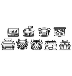 Arena icons set outline style vector