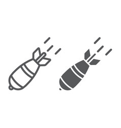 Atomic bomb line and glyph icon army and military vector
