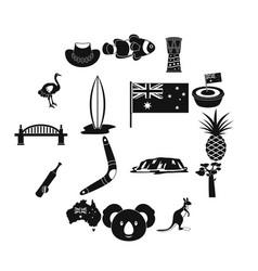 Australia travel icons set simple style vector