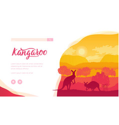 australian landscape with kangaroos trees hills vector image
