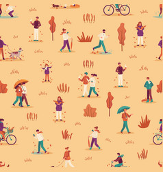 autumn people seamless pattern men women and vector image