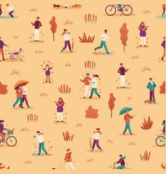 autumn people seamless pattern men women vector image