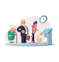 bad service at bank office vector image