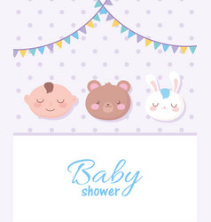 Bashower spotted background with faces bear vector