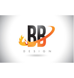 Bb b b letter logo with fire flames design vector