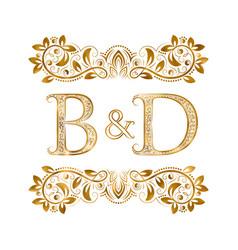 Bd vintage initials logo symbol letters b vector