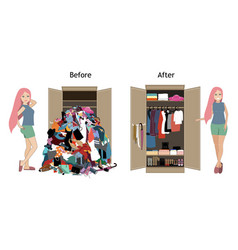 Before untidy and after tidy wardrobe with a girl vector