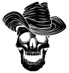 black silhouette gangster skull tattoo death head vector image