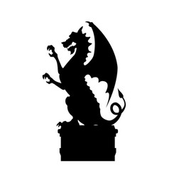 black silhouette of gothic statue of dragon vector image