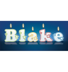 BLAKE written with burning candles vector
