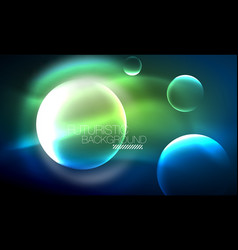 blue neon bubbles and circles futuristic abstract vector image
