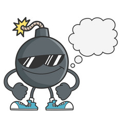 Bomb with sunglasses and speech bubble vector