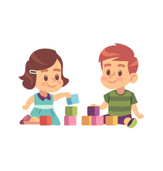 Boy and girl play cubes friendly children vector