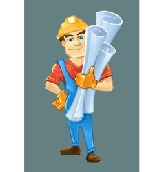 Builder or handyman in helmet with construction vector