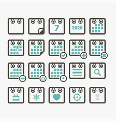 calendar icon set color vector image