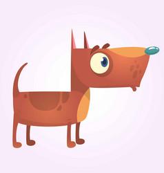 Cartoon brown pitbull dog mascot vector