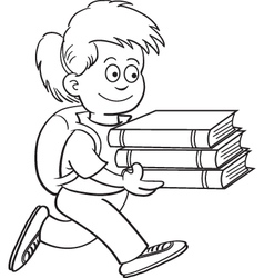 Cartoon Girl Carrying Books vector image