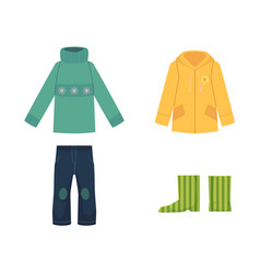 Cartoon sweater jeans raincoat and rubber boots vector