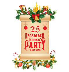 christmas garland with old scroll xmas party card vector image