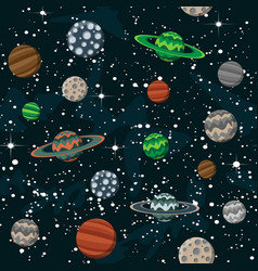 comic cartoon space with planets and stars science vector image