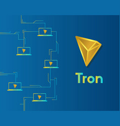 Cryptocurrency tron blockchain on blue background vector