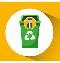 Cute boy recycle ecology icon trash can vector