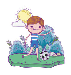 cute little boy playing soccer in the landscape vector image