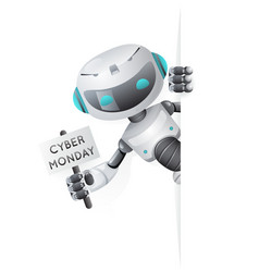 Cyber monday robot look out corner poster in hand vector