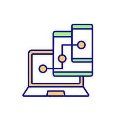 device synchronization rgb color icon vector image