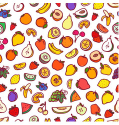 different color raw fruits seamless background vector image