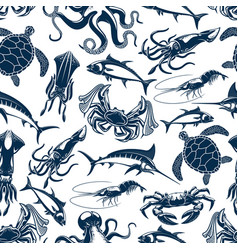 fish sea animals and seafood seamless pattern vector image