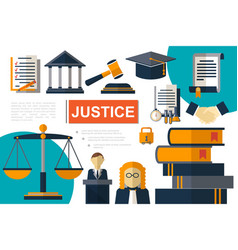 flat justice and law elements composition vector image