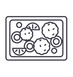 Fried vegetables line icon sig vector