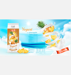 fruit yogurt with fresh pineapple in box vector image