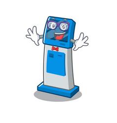 Geek information digital kiosk with in cartoon vector