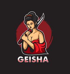 Geisha mascot vector