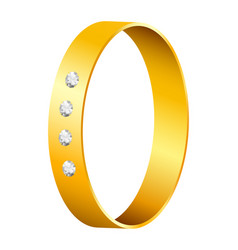 Gold ring with diamonds vector