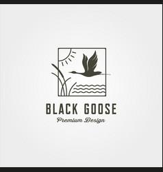 Goose and river plant line art logo symbol design vector
